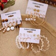 Ensemble de boucles d'oreilles Vintage EN perles rondes pour femmes, style bohème, géométrique, or, Brincos, bijoux à clous