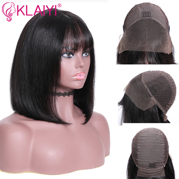 Klaiyi Hair Straight Bob Human Hair Wigs With Bang 8-14 inch Pre Plucked Brazilian Remy Hair 13*4 Lace Front Wig 150% Density 3