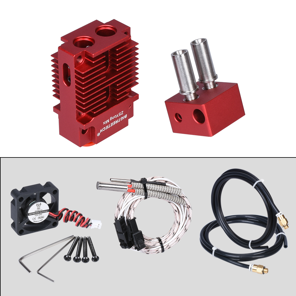lowest price BIGTREETECH 2 IN 1 OUT Hotend Mixed Color Extruder 12V 24V Heater 3D Printer Parts Hotend J-head 1 75mm Filament for Titan MK8