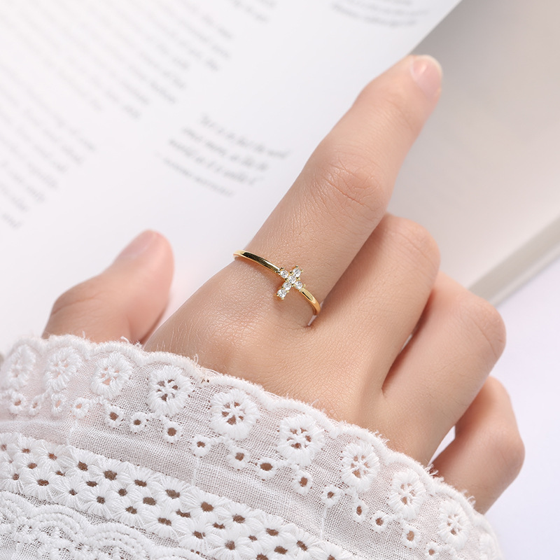 Cute Female Crystal Cross Round Stone Ring 100% Real 925 Sterling Silver Engagement Ring Gold Open Wedding Rings For Women