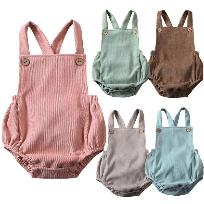 New Baby Boys Rompers Summer Newborn Infant Corduroy Sleeveless Button Rompers Baby Girls One-pieces Suspender Jumpsuits Clothes