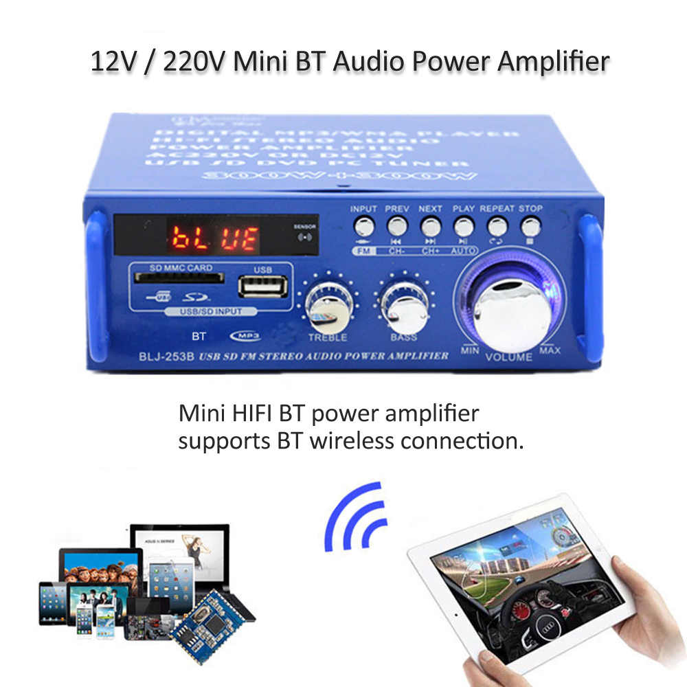 مكبر صوت صغير HiFi بلوتوث لاسلكي/التحكم عن بعد مضخم الصوت راديو FM DC12V/AC220V مكبر كهربائي للاستخدام المنزلي والسيارة
