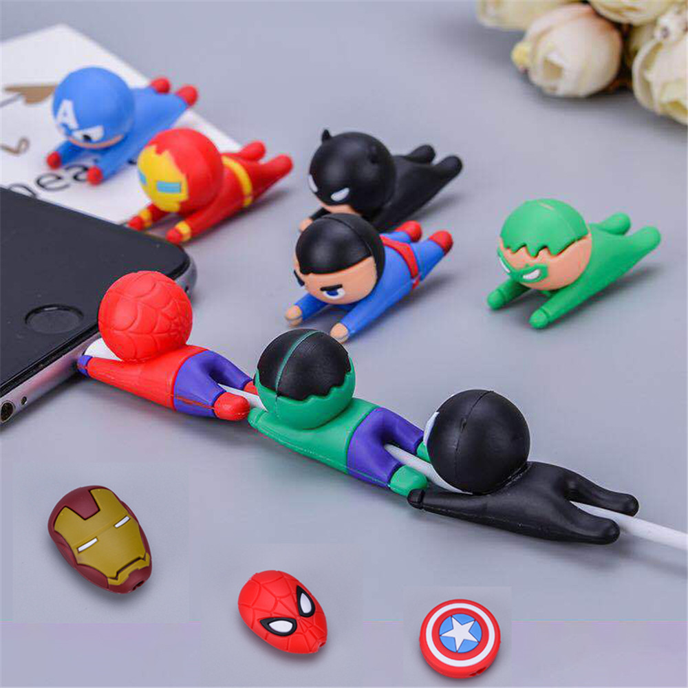 Data Cable Protector Sleeve Cable Winder Superman series Bite Cable Protection For iPhone Mobile Phone Hero League Holder