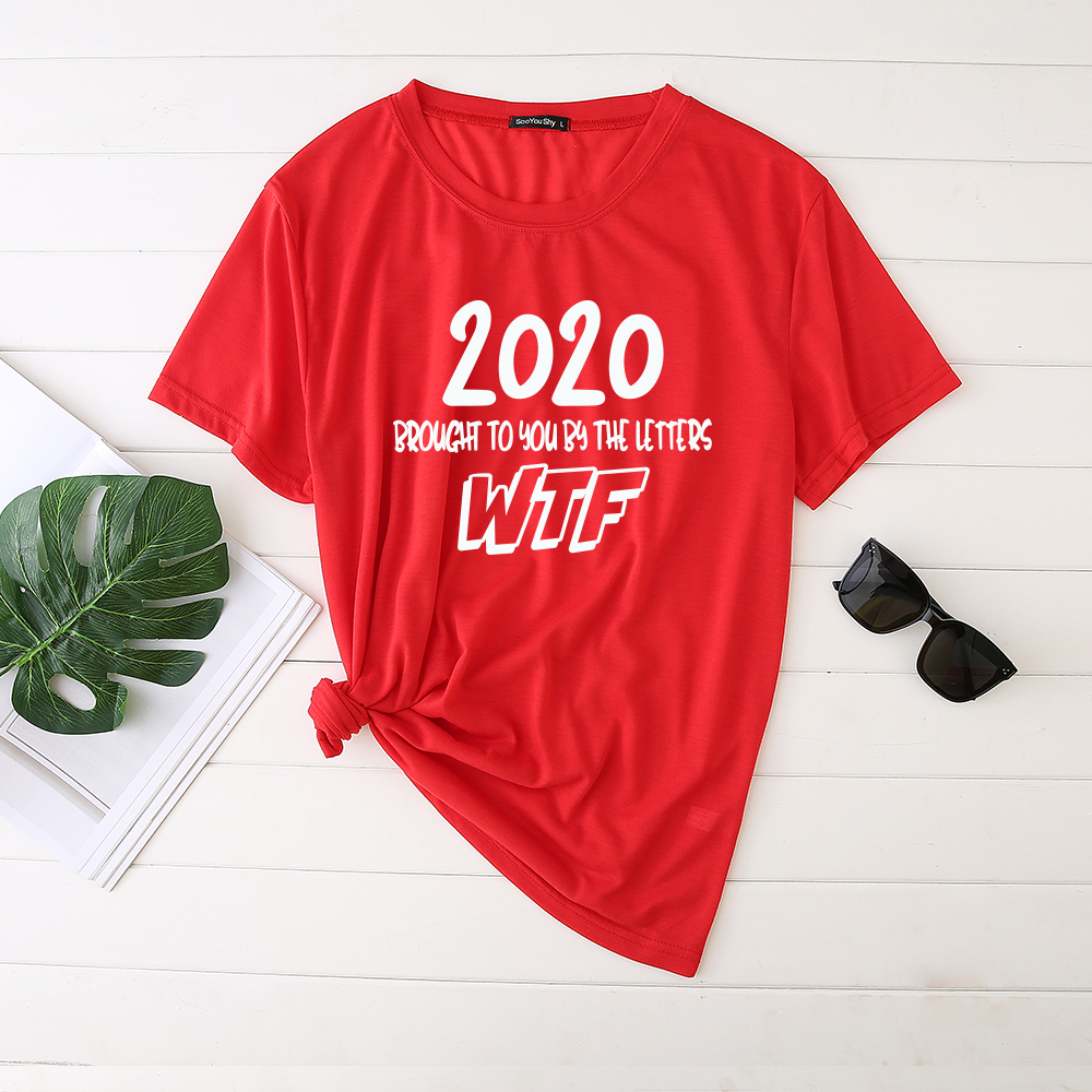 Seeyoushy 2020 Brought To You By The Letters WTF Women's T-shirt Round Neck Cotton Funny Tshirt for Women Tops Mulher Camisetas