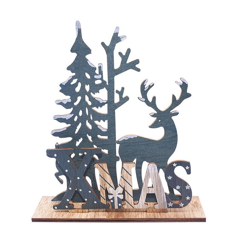 Decoración navideña de renos de madera, artesanías de madera, adornos navideños para decoraciones hogareñas para mesa, Año Nuevo 2020