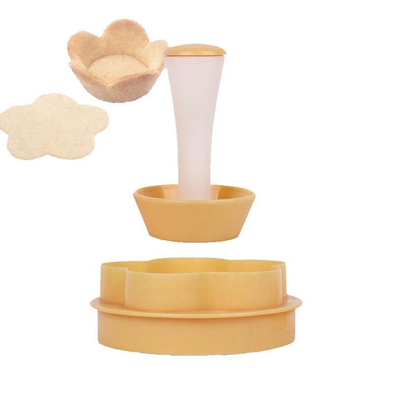 Plastic Pastry Tamper Tart Shell Molds Tart Cutter Flower/Round Dough Cookie Cutter Set Cupcake Muffin Mold