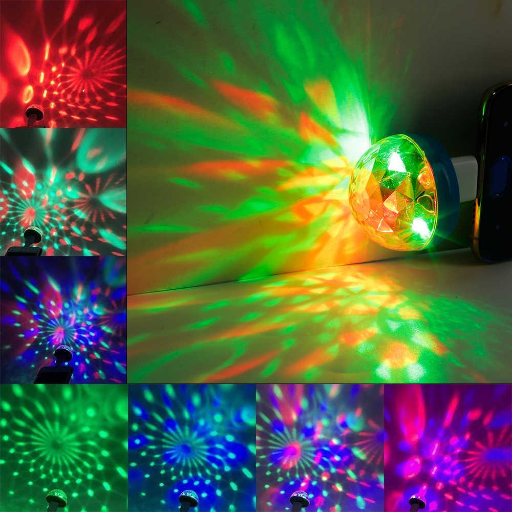 Akcesoria samochodowe wnętrze Mini przenośny USB etap Disco światła rodziny magiczna kula świetlna Party klub USB do telefonu komórkowego światło ozdoba