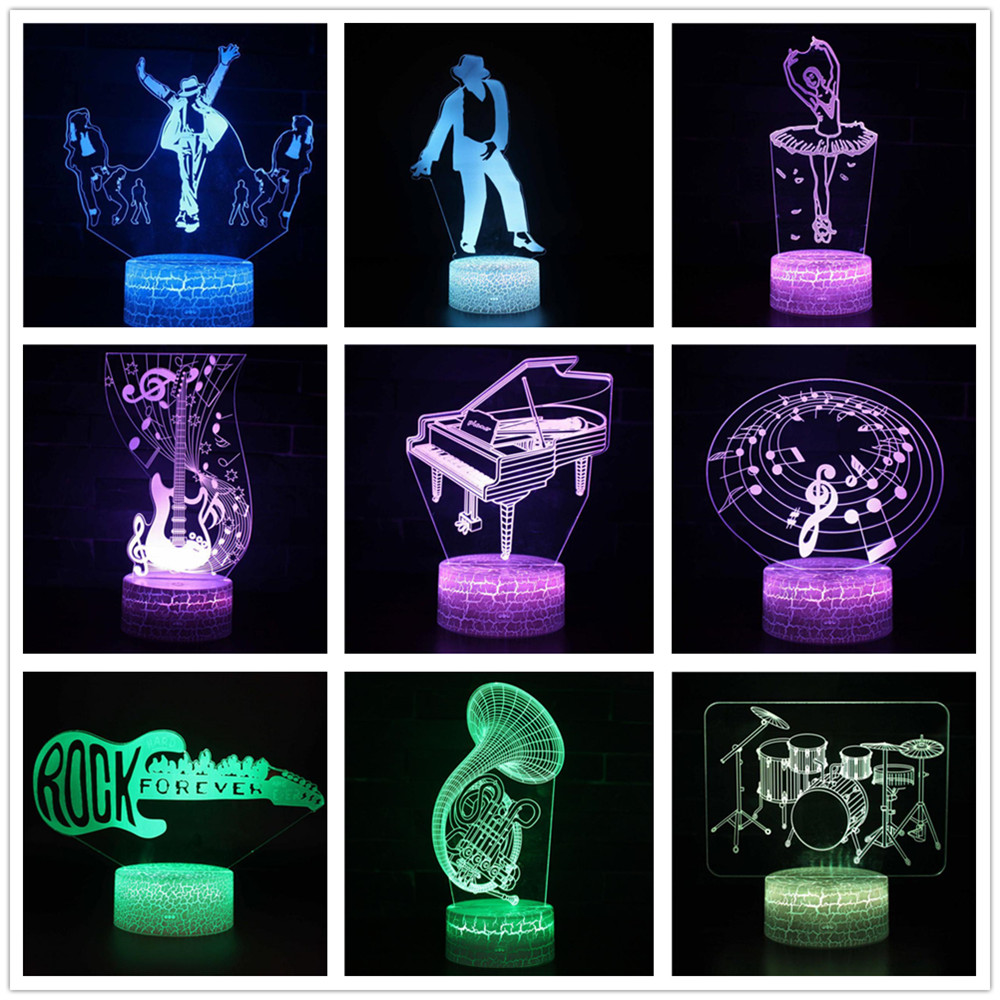 Musical Instruments 7 Color 3d Lamp Visual Led Night Lights Kids Touch Usb Table Lampe Baby Sleeping Motion Light Dancer Singer