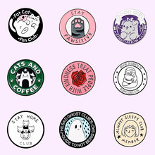 Épingles rondes en émail pour femmes, Badge patte de chat, Rose, chaton personnalisé, broches, revers, sac de chemise, bijoux d'animaux mignons, cadeau