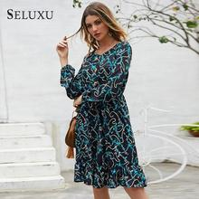 Seluxu 2019 Autumn Women Dress Round Neck Floral Print Dress Long Sleeve Dress Patchwork Ruffles Dress Women Dress round neck falbala patchwork womens day dress