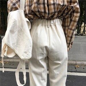 Image 5 - ג ינס נשים ארוך מכנסיים ישר קוריאני סגנון גבוה מותן כיסים נשי מוצק טרנדי Harajuku נשים כל התאמה רך Loose שיק