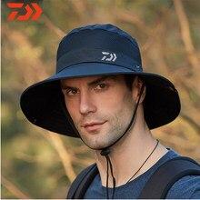Daiwa moda nova malha de verão respirável pescador chapéu 2020 dos homens ao ar livre escalada grande borda sol chapéu protetor solar chapéu de pesca