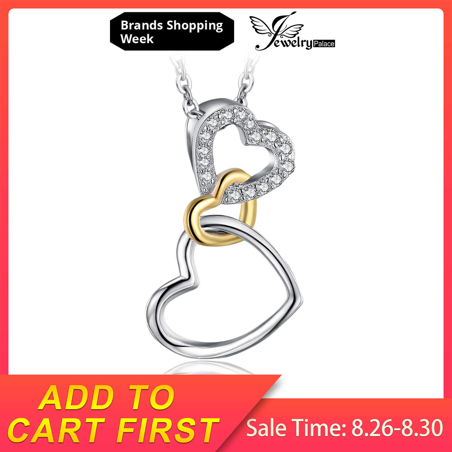JewelryPalace 925 Sterling Silver Infinity Love Triple Intertwined หัวใจ Pave Cubic Zirconia จี้ไม่รวมโซ่
