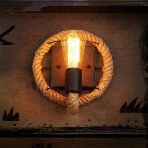 Image 2 - حبل القنب لوفت نمط الجدار مصباح Vintage الحديد الصناعية السرير ضوء تركيبات الرجعية للمنزل الإنارات بار مقهى غرفة المعيشة E27