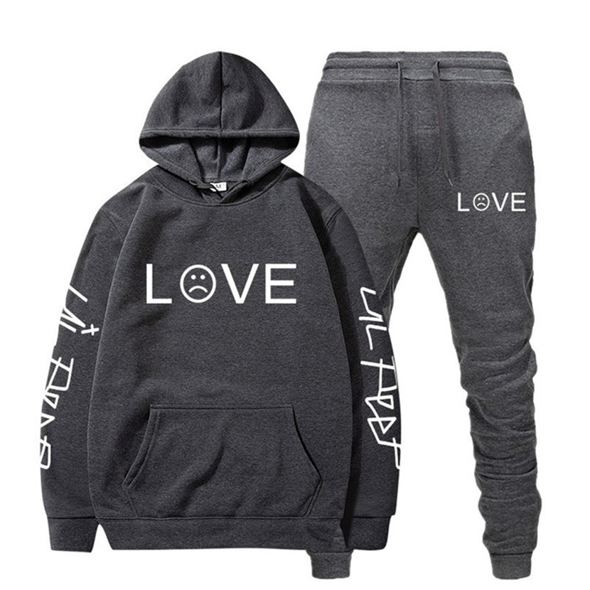 Sport Suit Hoodie Newest Lil Peep Rapper Hip Hop Hooded Men Casual Cotton Fall/Winter Warm Sweatshirts Men's Casual Tracksuit
