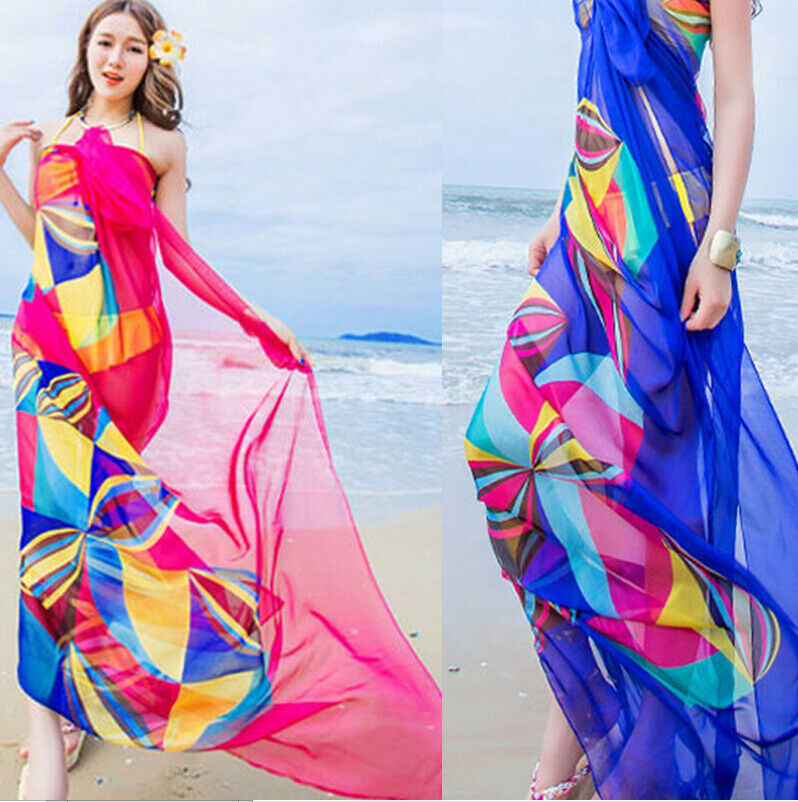 Hot Donne Cover Up Chiffon Spiaggia Bikini Stampa Sheer Allentato Fasciatura Dell'involucro Della Sciarpa Pareo Costumi Da Bagno Sarong Estate Delle Signore Beachwear