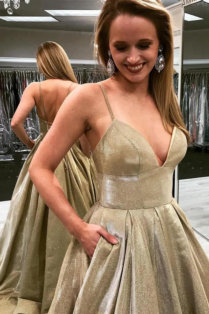 2020 Gold Sparkly Prom Dresses With Pockets Sleeveless Spaghetti Straps V Neck Formal Evening Party Gowns Robe De Soiree