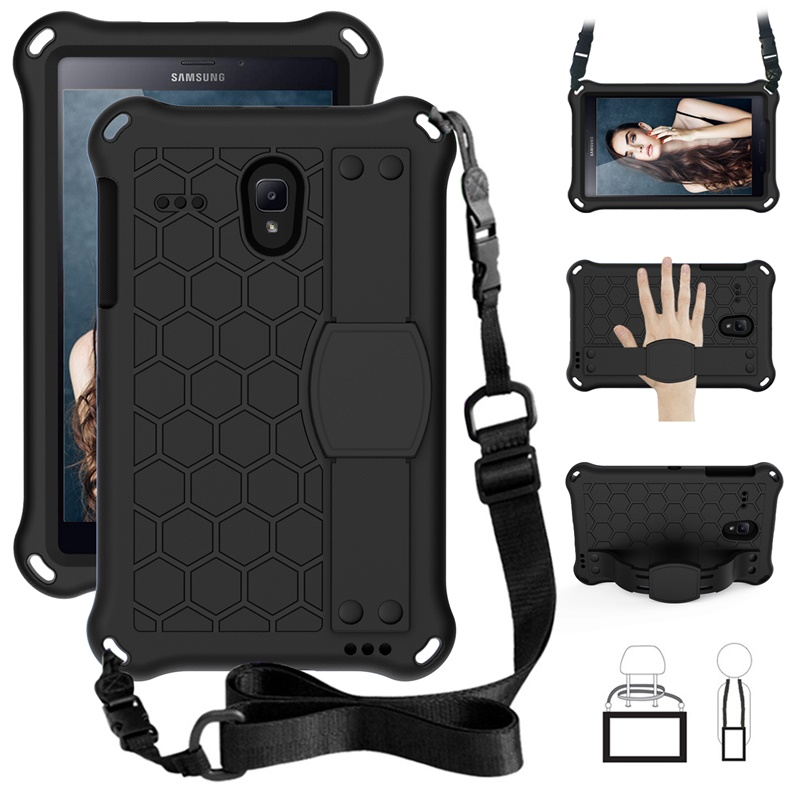 Case For Samsung Galaxy Tab A 8.0 Inch 2017 SM-T380 T387 T385 Coverstand Shoulder Strap Heavy Duty Silicone Shock Proof Case