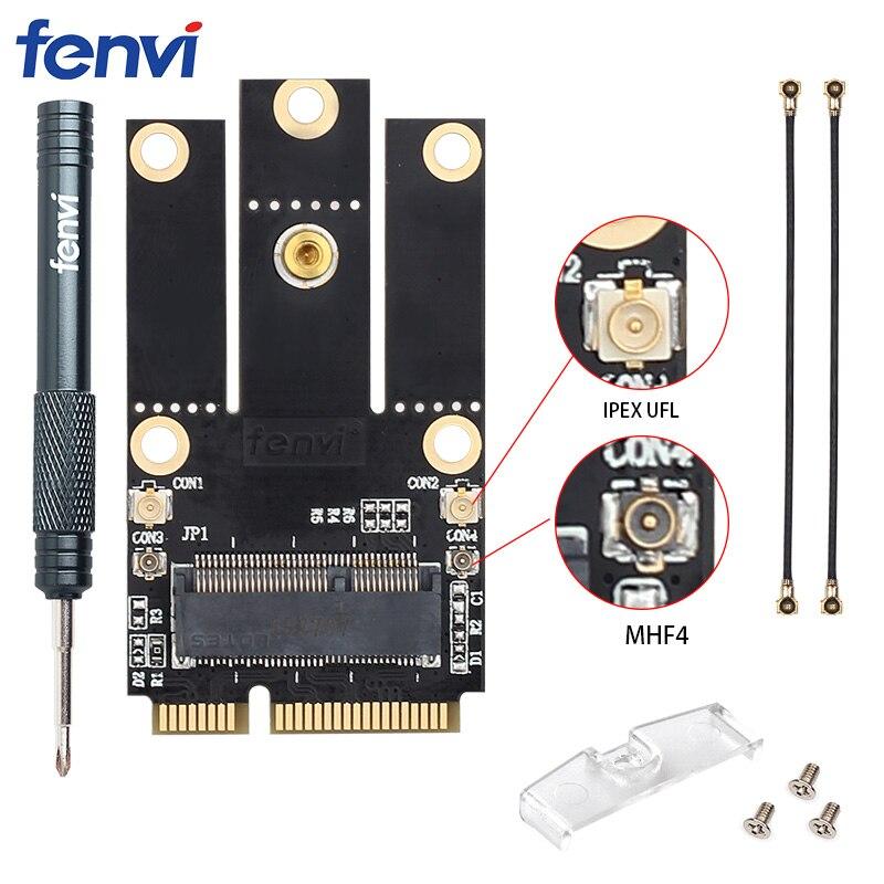 NGFF M.2 Key To Mini PCI-E PCI Express Converter Adapter Antennasfor Intel 9260 8265 7260 AC NGFF Wifi Bluetooth Wireless Card