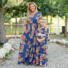 Mommy and me family matching clothes Mother daughter floral elements printed dress Family clothing
