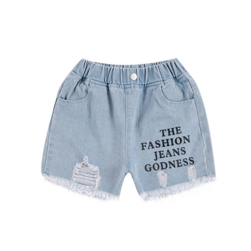 4-13 Year Old Girls Jeans Shorts 2020 Summer Girl Short Pants for Kids Ripped Jeans for Children Denim Shorts Letter Print 2