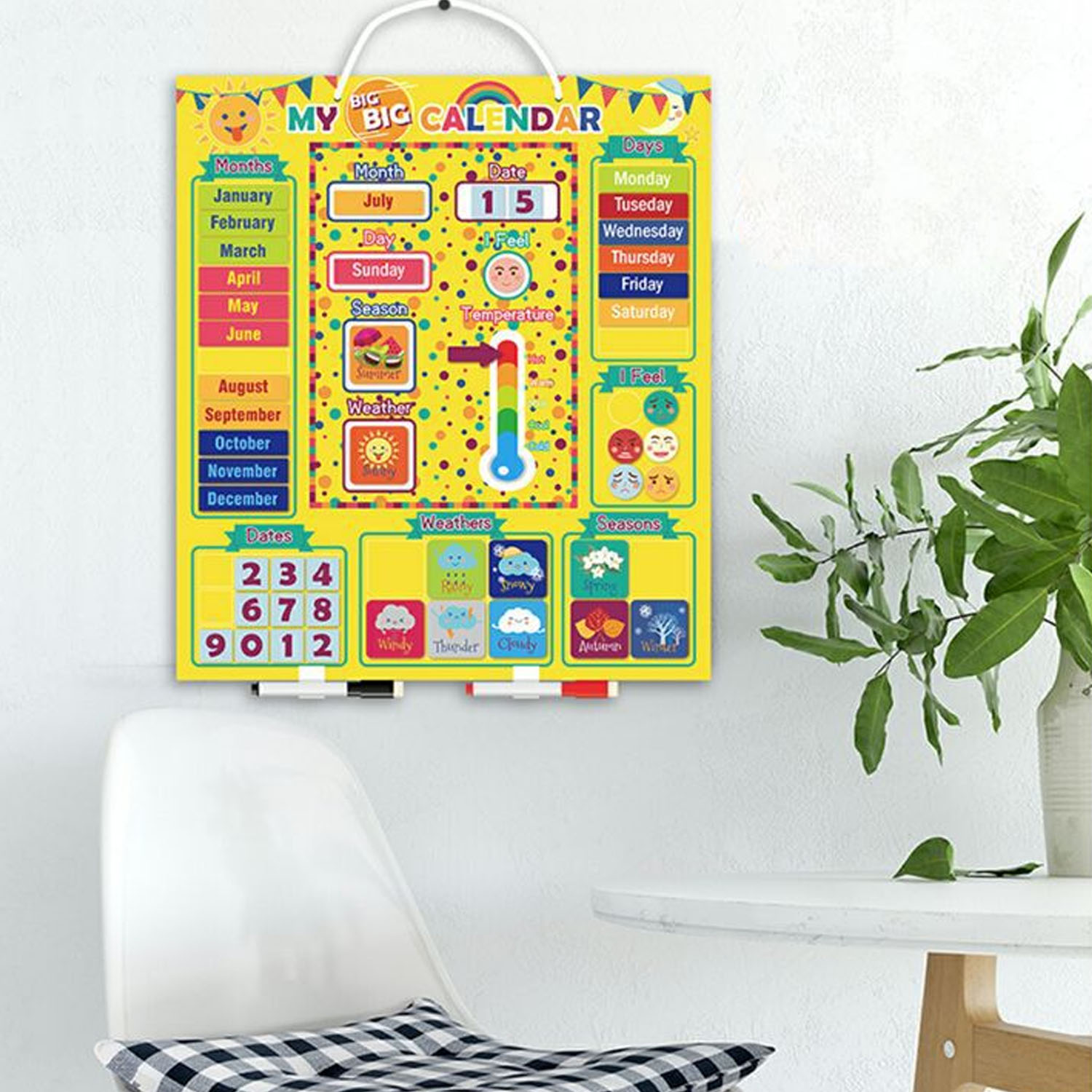 Magnetic Calendar Chart Board Days Dates Months Moods Weather Temperatur Seasons Learning Toy For Kids Children Home Preschool
