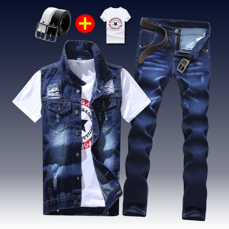 2019 New Thin Mens Vest Trousers 2pcs Set Denim Waistcoat Pencil Pants Casual Boys Slim Fit Single Breasted D90