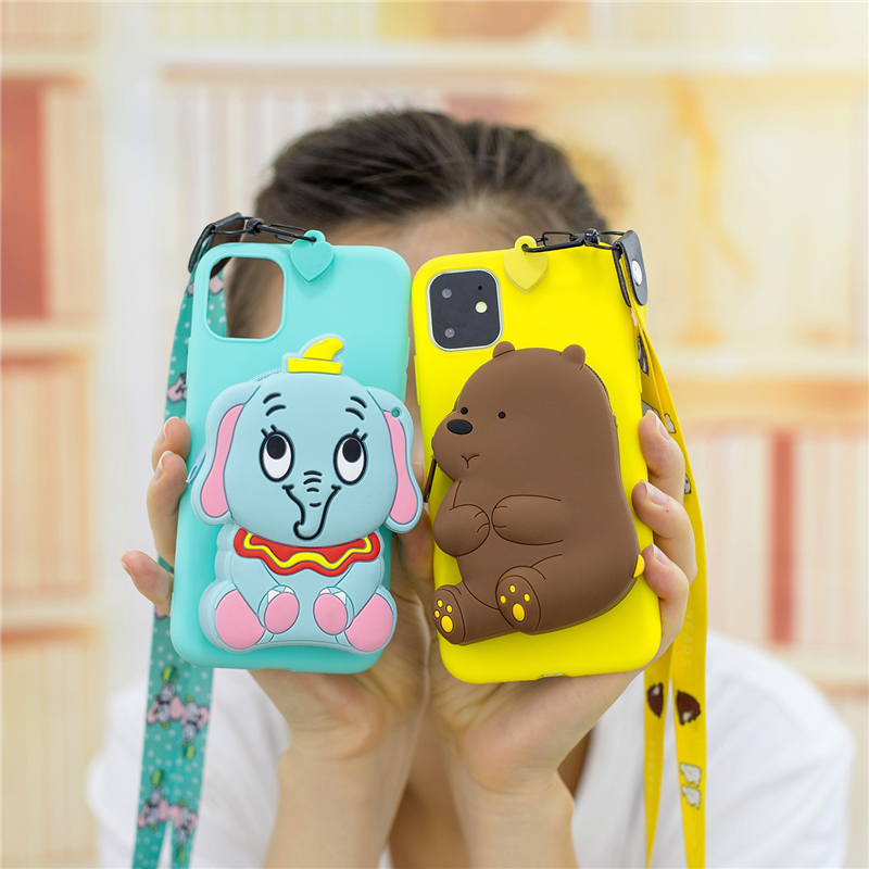 3D Cartoon Bear Wallet Case For Iphone 6 6S 7 8 Plus X XR XS 11 12 Mini Pro Max SE Soft Silicone Coin Wallet Purse