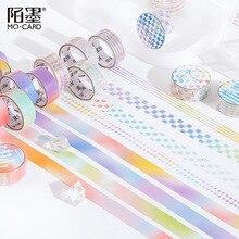 Sticker Notebook-Decoration Decorative-Tape Grids Diary PET Rainbow Gradient Solid