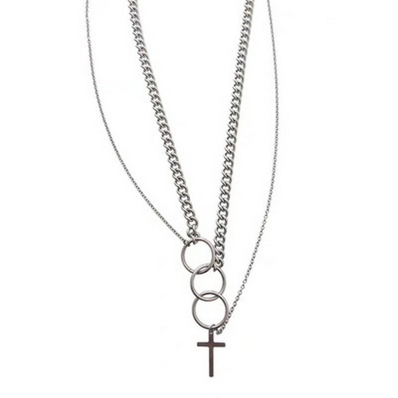 Hip Hop Multi Layer Cross Pendant Necklace For Eboy Steampunk Long Chain Necklace Stanless Steel Jewellery Boyfriend Gift