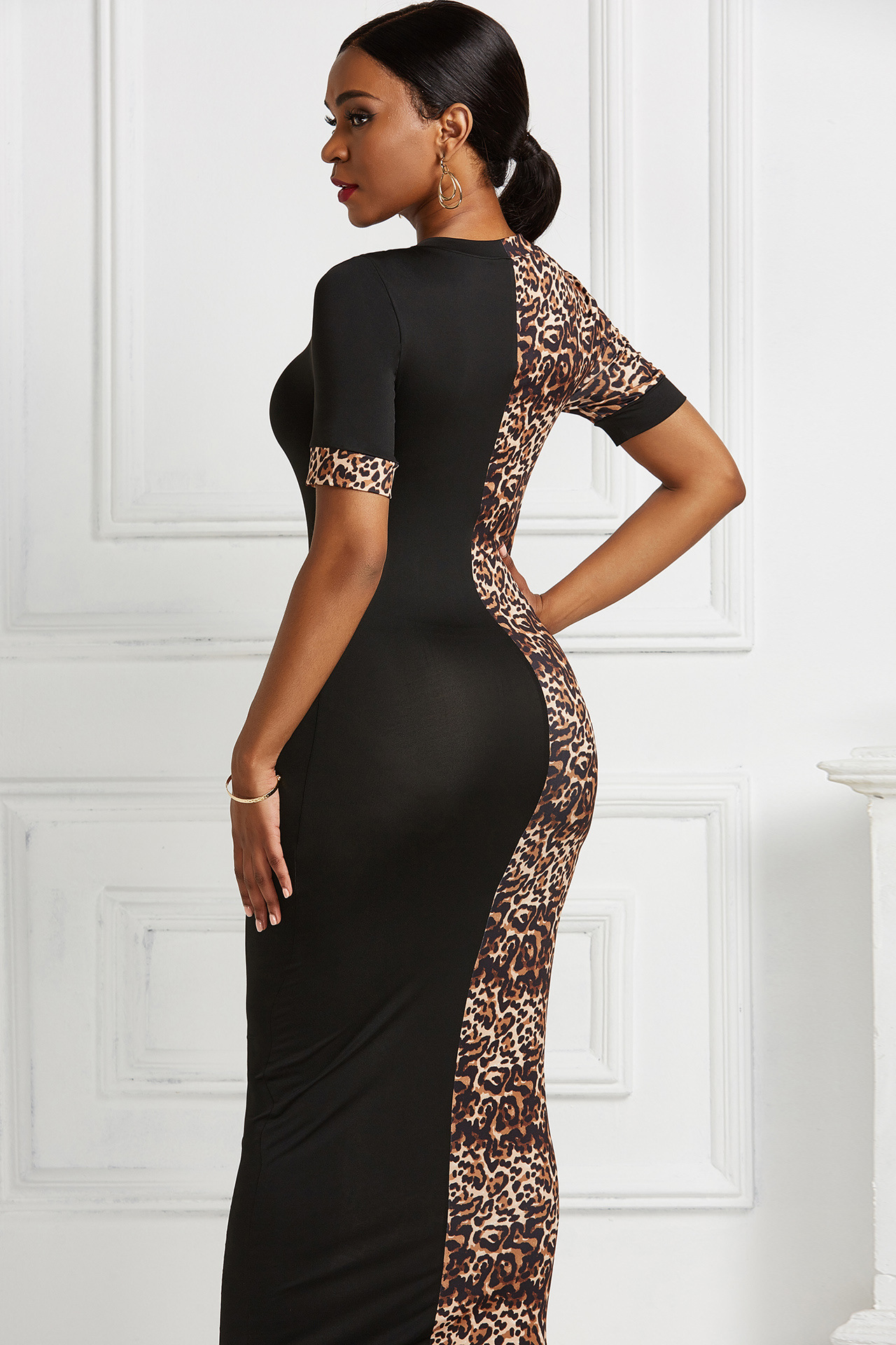 Elegant Leopard Print Patchwork Bodycon Short Sleeve O-neck Stretchy Maxi Dress