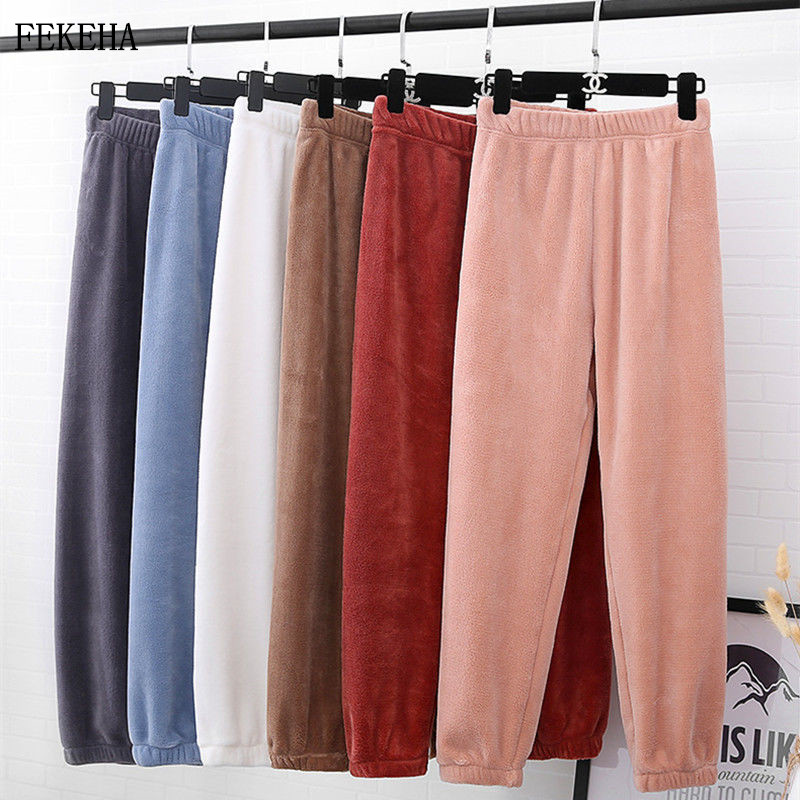 New Winter Wear Women Lantern Pants Soft Keep Warm Home Pajama Pants Coral Fleece Loose Lazy Trousers Letter Embroidery