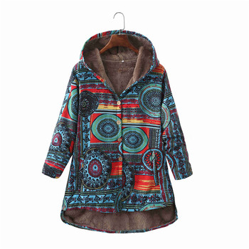 Women Winter Floral Printed Coat Vintage Harajuku Plus Size Loose Casual Jackets Plus Velvet Thick Warm Hooded Fashion Coat 11