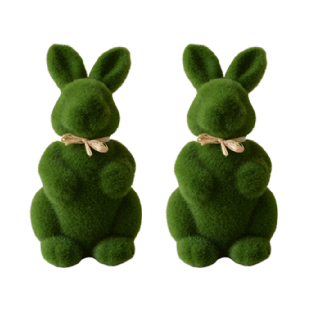 2pcs Simulation Ornaments Lifelike Creative Short Bunny Figurine Craft Decoration For Easter Living Room Home Office (Green)