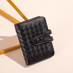 Image 5 - Мужской кошелек BISON DENIM из натуральной воловьей кожи, с отделением для кредитных карт, с ткацким дизайном, Роскошный кошелек для ID паспорта, N9313