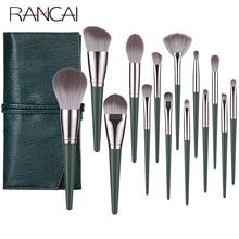 RANCAI 14pcs Makeup Brushes Set crochas maquillaje Green Large Loose Powder High Gloss Eyeshadow Foundation Contour SynthetiHair
