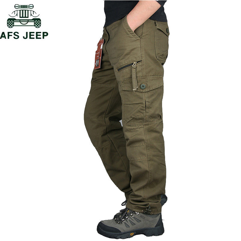 2020 Mens Cargo Pants Tactical Multi-Pocket Overalls Male Combat Cotton Loose Slacks Trousers Army Military Work Straight Pants