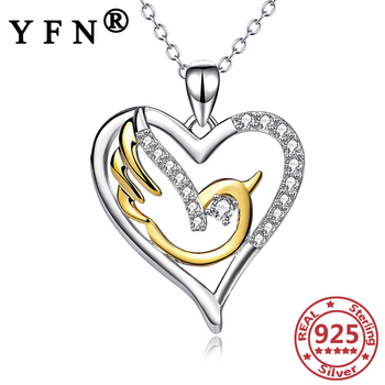 YFN 925 Sterling Silver Heart Pigeon Pendant Necklace Cubic Zircon 925 Silver Chain Woman Valentine's Day Gift Mother's Day Gift