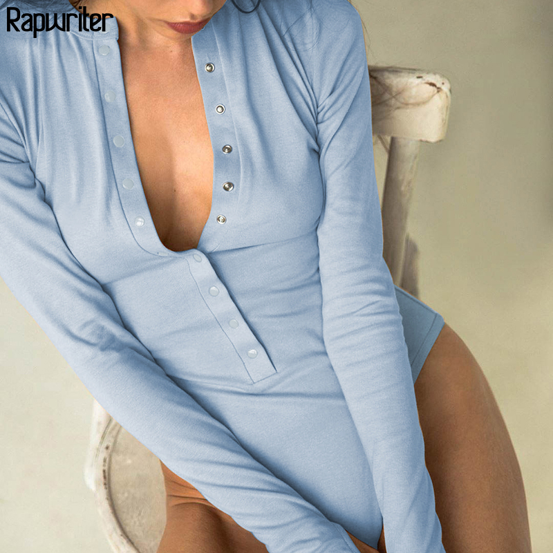 Rapwriter Casual Button Blue Stretch Bodysuit Long Sleeve Women 2020 Spring Stand Collar Fitness Basic Open Crotch Body Mujer
