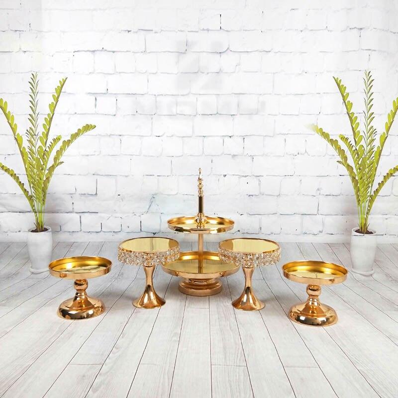 3 pièces-5 pièces or argent gâteau support ensemble métal fer cristal de mariage fête décoration fournisseur cuisson gâteau accessoire outils