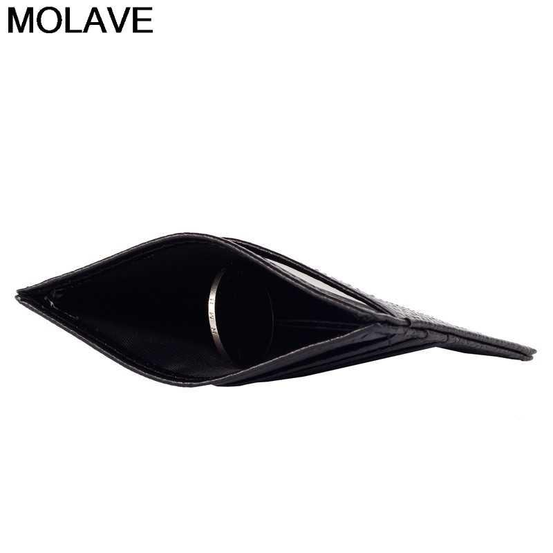 Molave Slim Blocking Leather Wallet Credit ID Card Holder Purse Money Case For Men Women Pure Fashion Bag cartera 10.5*7.7*0.3cm