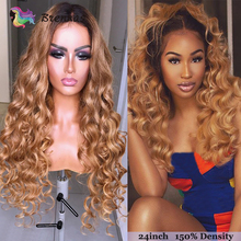 Ombre Loose Wave lace front wig 1b27 light brown 13x4