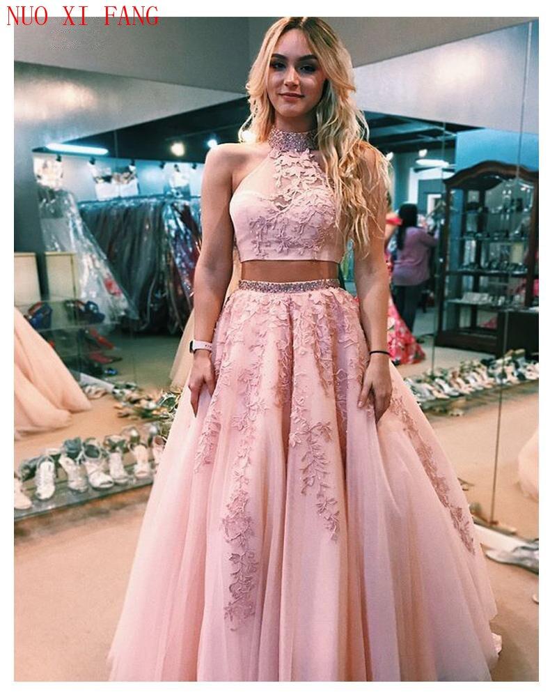 2020 Pink Quinceanera Dresses Lace 2 Pieces Appliques Vestido Para Quinceaneras A Line Backless Tulle Vestidos De 15 Años