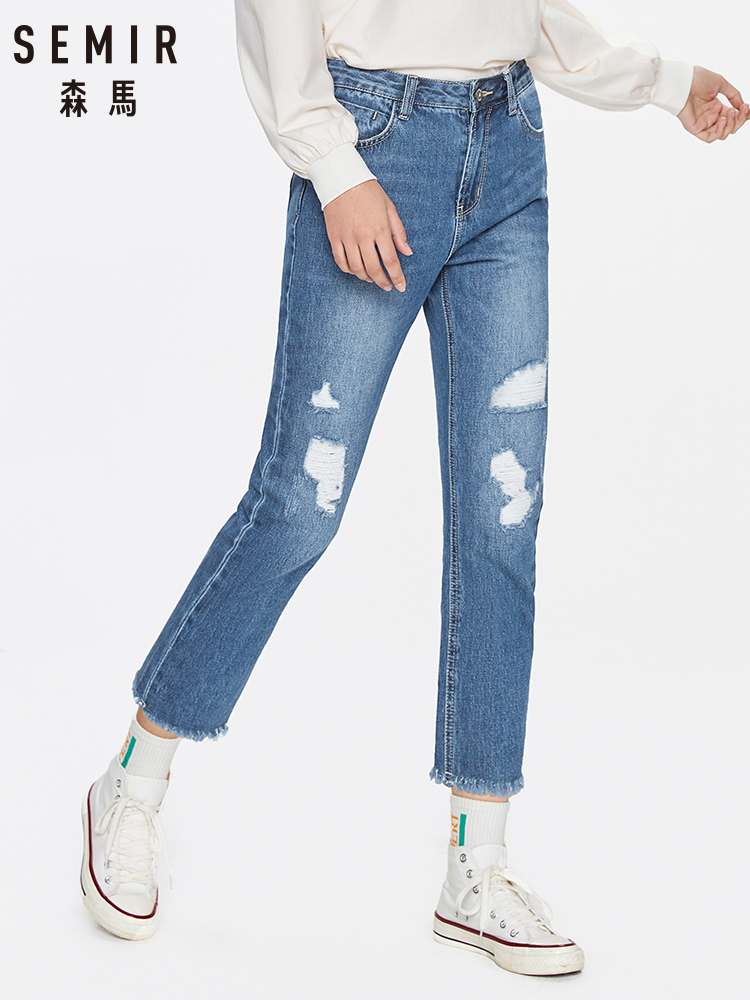 SEMIR Hole Jeans Women 2020 Spring New Korean Loose Nine Points Thin Pants Boyfriend Style Women Pants