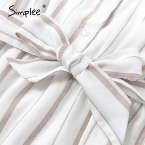 Image 5 - Простое Полосатое летнее платье для женщин, сексуальное, без рукавов, с поясом, однобортное, для пляжа, повседневное, с рюшами, свободное, макси платье
