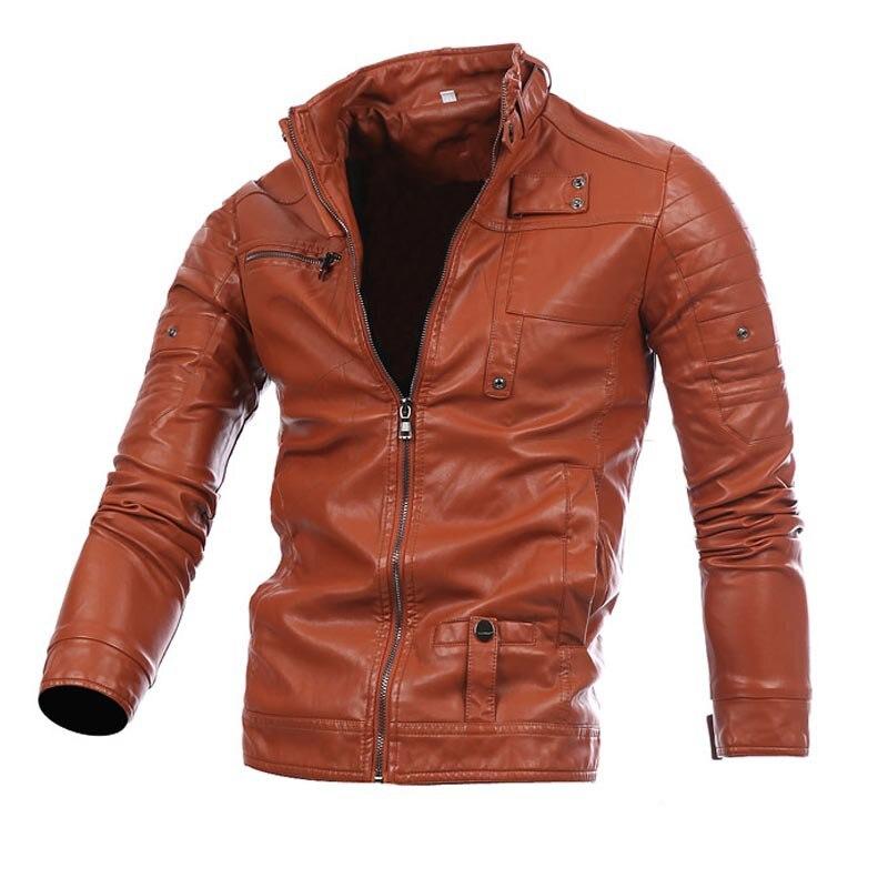 Men's leather jacket multi-zip-up locomotive biker leather coat Men'S Wear Stand-collar