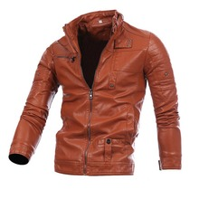 купить Men's leather jacket multi-zip-up locomotive biker leather coat Men'S Wear Stand-collar casual PU leather coat jacket A191 дешево