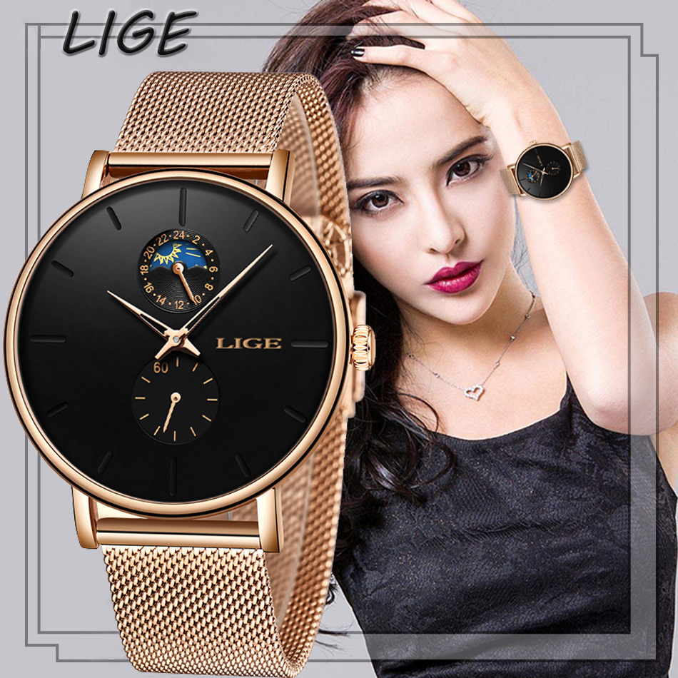 New Women Watches  LIGE Luxury Brand Simple Moon Phase Quartz Watch Lady Fashion Casual Waterproof Clock Female Reloj Mujer 2019
