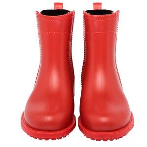 Image 4 - Damlama kadın kısa çizmeler su geçirmez kaymaz moda yağmur ayakkabıları kadın ayak bileği Chelsea yağmur çizmeleri ayakkabı kadın