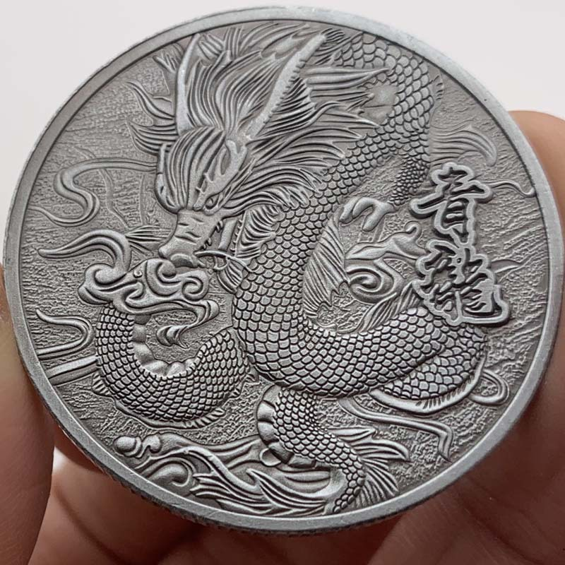 New Customized Prosperity Brought by the Dragon Coin Commemorative nickel Plated Coins Souvenir Gifts